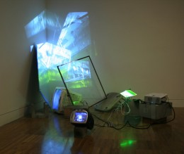 Huaca, installation view (2012) mixed media assemblage, hidden performance, cctv cameras,  projection and monitors, dimensions variable approx. 230cm x 100cm x 150cm